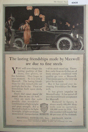 Maxwell Motor Co. 1920 Ad