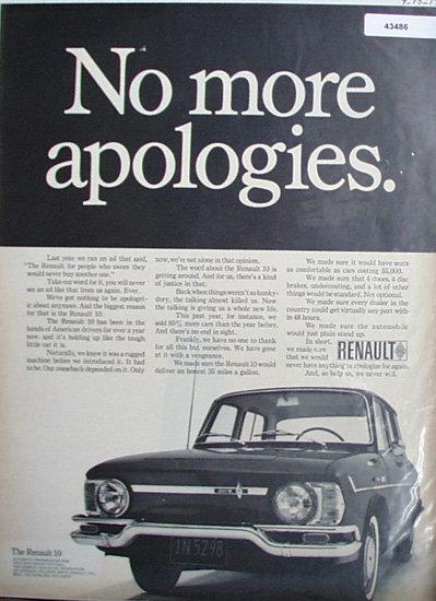 Renault 10 Car 1967 Ad