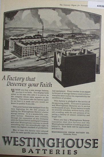 Westinghouse Batteries 1920 Ad