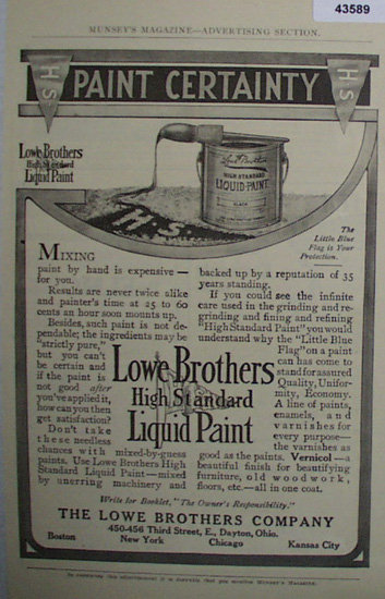 Lowe Brothers High Standard Liquid Paint 1907 To 1912 Ad