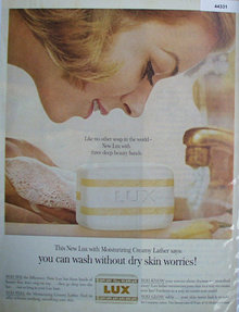 New Lux Soap  With Moisturizing Cream 1962 Ad.