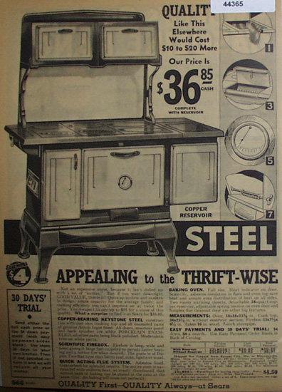 Sears Steel Range 1933 Ad.