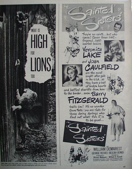 Movie Sainted Sisters 1948 Ad.