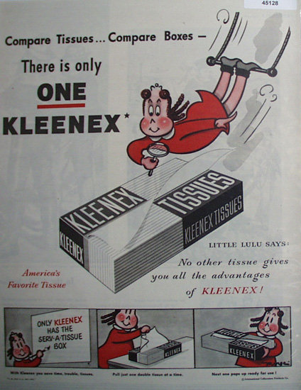 Kleenex Tissue 1948 Ad.
