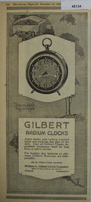Gilbert Radium Clock 1920 Ad