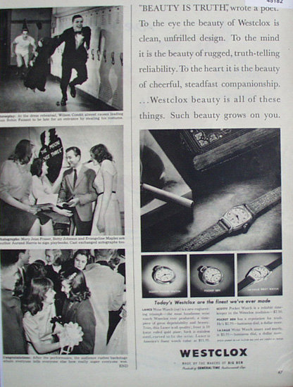 Westclox Watches 1948 Ad