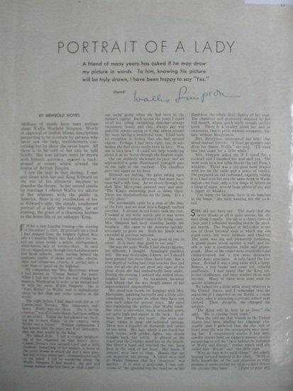 Portrait Of A Lady Wallis Warfield Simpson 1937 Article