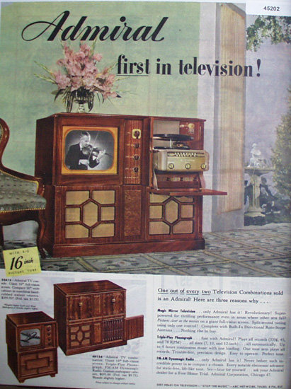 Admiral Television Combination 1949 Ad