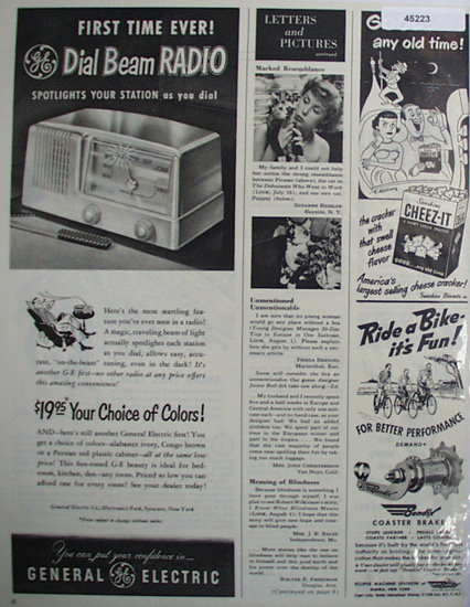 General Electric Dial Beam Radio 1950 Ad.