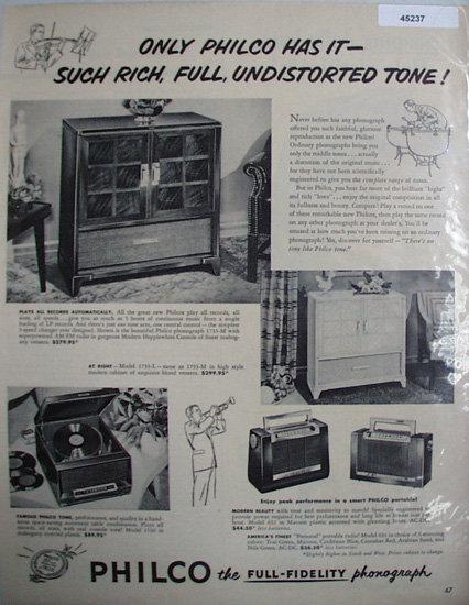 Philco Full fidelity Phonograph 1950 Ad