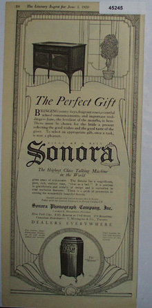 Sonora Talking Machine 1920 Ad.