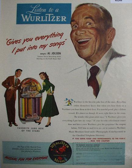 Wurlitzer Juke Box 1948 Ad.