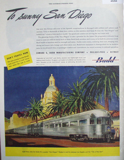 Budd San Diegan Train 1945 Ad