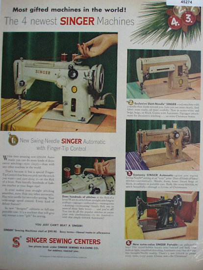 Singer Sewing Center 1956 Ad.