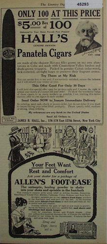 Halls Genuine Havana Panatela Cigar 1920 Ad