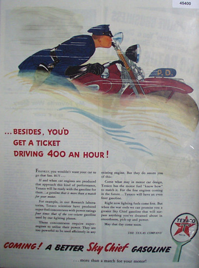 Texaco Sky Chief Gasoline 1944 Ad.