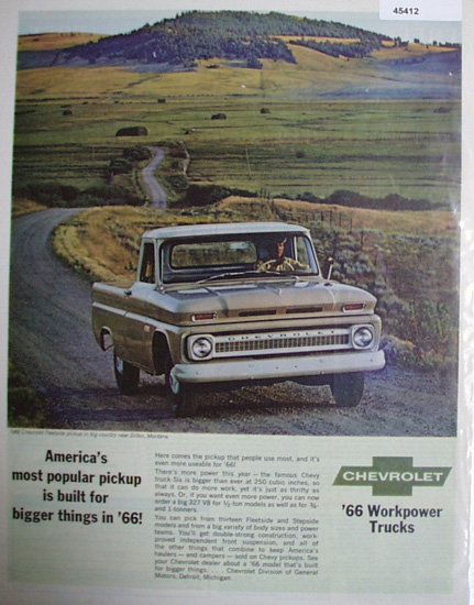 Chevrolet Workpower Trucks 1966 Ad.