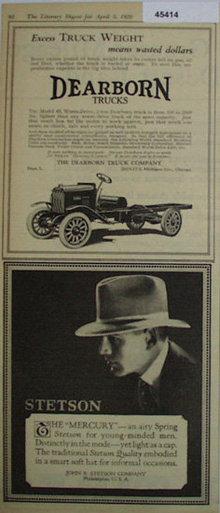 Dearborn Trucks 1920 Ad.