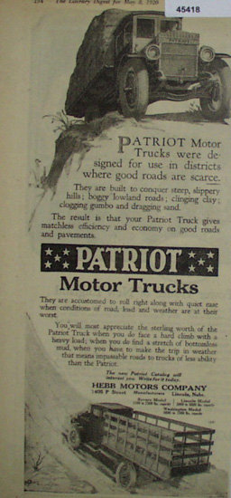 Patriot Motor Trucks 1920 Ad.