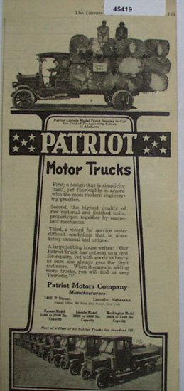 Patriot Motor Trucks 1920 Ad