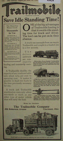 Trailmobile Motorless Motor Truck 1920 Ad