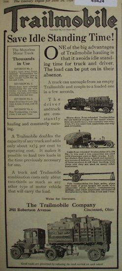 Trailmobile Motorless Motor Truck 1920 Ad