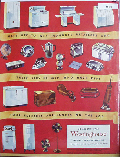 Westinghouse Electric home Appliances 1945 Ad.