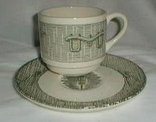 Scio Currier & Ives Green Cup & Saucer
