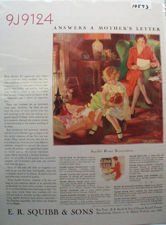 E R Squibb & Sons Mothers Letter Ad 1930