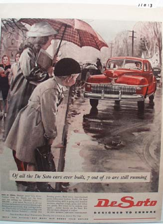 DeSoto Car Rain or Shine Ad 1945