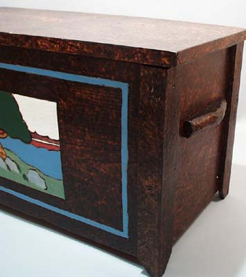 Arts and Crafts Movement Burned design chest