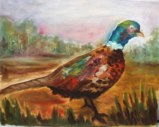 Pheasant painted on cavas board