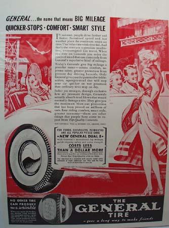 General Tire Big Mileage Tire Ad 1938.