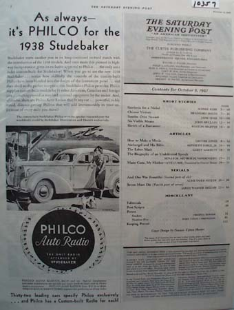 Philco Auto Radio for 1938 Studebaker Ad 1937