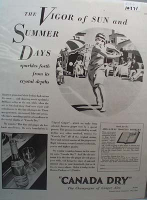 Canada Dry Ginger Ale Summer Days Ad 1930
