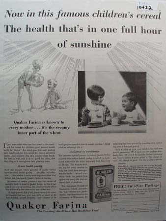 Quaker Farina One Hour of Sunshine Ad 1930