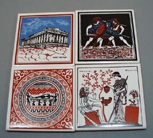 4 coaster tiles featuring Hercules, Minerva, roman soldiers