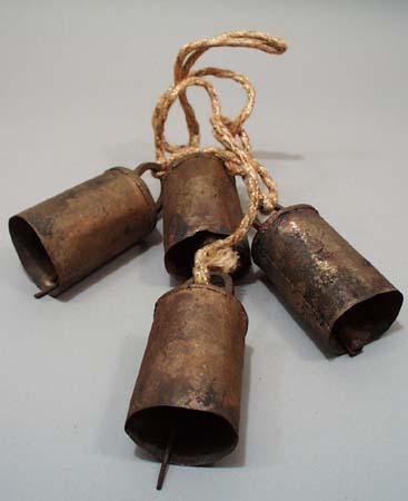 4 tin hanging bells on string