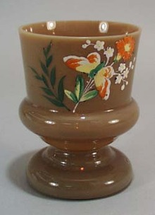 Chocolate type glass with butterfly enamel work