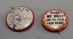 2 humor pin back older pins.
