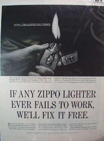 Zippo Lighter Gloria Ross Ad 1965