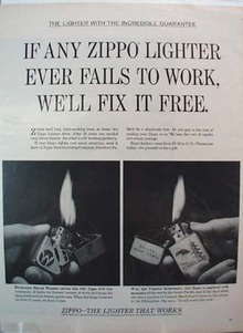 Zippo Lighter Wooster & Robertson Ad 1965