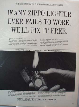 Zippo Lighter Robert Fry Ad 1965