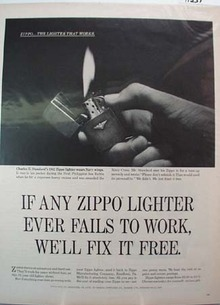Zippo Lighter Navy Wings Ad 1965