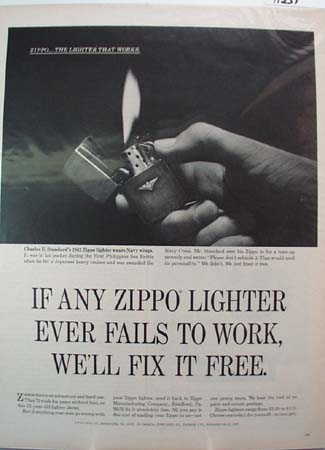 Zippo Lighter Navy Wings Ad 1965