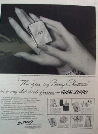Zippo Lighter Merry Xmas Ad 1953
