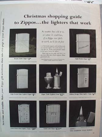 Zippo Christmas Shopping Guide Ad 1961