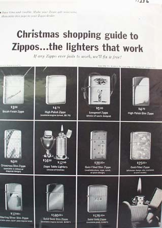 Zippo Lighter Christmas Ad 1962  This is a December 7, 1962