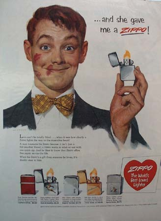 Zippo Lighter Valentines Day Ad 1953