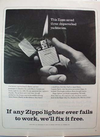 Zippo Lighter Saved Three Yachtsmen Ad 1966